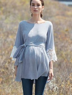 A Pea in the Pod Luxe Essentials Lace Bell Sleeve Maternity Blouse