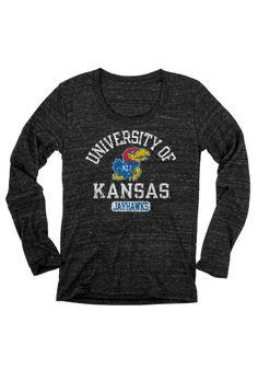 Kansas Jayhawks (KU) Grey Long Sleeve Women's T-Shirt http://www.rallyhouse.com/shop/kansas-jayhawks-570174 $22.99