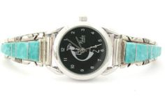 Four Corners USA Online American Artisan Jewelry - Women's Turquoise Inlay Sterling Watch Kokopelli Face Native American Jewelry Steve Francisco, $107.00 (http://stores.fourcornersusaonline.com/womens-mother-of-pearl-silvertone-stainless-steel-back-watch-face-w-calendar/)