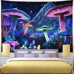 Purple Indian Mushroom Mandala Wall Tapestry Hanging - S 95 X 70 / FLUORESCENT GREEN