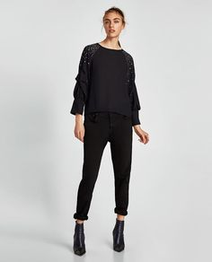 ZARA - WOMAN - BLOUSE WITH APPLIQUÉD SLEEVES