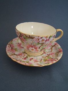 Vintage SHELLEY England Tea Cup & Saucer Maytime Chintz Pattern