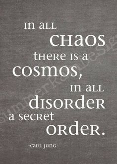In all chaos there is a cosmos, in all disorder a secret order. ~Carl Jung, the original chaos theorist Quotes To Live By, Me Quotes, Chaos Quotes, Beauty Quotes, Faith Quotes, Carl Jung Quotes, Affirmations, Frases Humor, Sigmund Freud