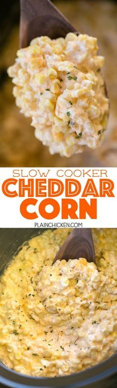 Slow Cooker Cheddar Corn - this stuff is AMAZING!! Just dump everything in the slow cooker and let it work its magic! Frozen corn, cream cheese, cheddar cheese, butter, heavy cream, salt and pepper. Great side dish for a potluck! There is never any left! Such an easy side dish recipe!!