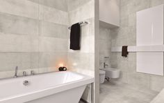 A unique collection of contemporary concrete combined with worn markings and structure variations giving them a realistic natural look. Wall And Floor Tiles, Concrete, Flooring, Urban, Contemporary, Home, Ad Home, Wood Flooring, Homes