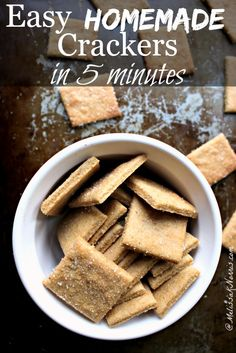 Trying to cut back on groceries and processed foods? These homemade crackers whip up in just 5 minutes, using real food ingredients, and taste amazing. Seriously, kid approved, best part. Healthy Crackers, Homemade Crackers, Butter Crackers, Whole Food Recipes, Snack Recipes, Cooking Recipes, Snacks, Junk Food, Do It Yourself Food