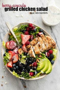 Berry Avocado Grilled Chicken Salad
