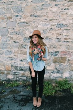 Chambray + scarf + black jeans + ankle booties + hat