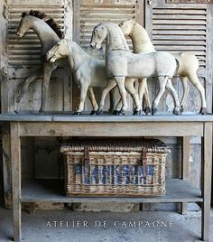 Collection of French brocante horses on zinc top table Equestrian Decor, Equestrian Style, Art Furniture, Furniture Vintage, Furniture Design, Wooden Horse, Boho Home, Vintage Horse, Horse Sculpture