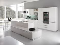 Furnitures, : Beautiful Designer Kitchen With Brushed Nickel Silver Shade Also Inspiring White Lacquer Modern Kitchen