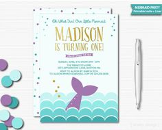 Mermaid Invitation Party Invite Birthday Printable Girls Aqua Gold Purple Under The Sea First