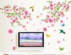Awesome Wandtattoo XL Vogel Schmetterling Blumen Wandaufkleber Wandsticker Wohnzimmer eBay