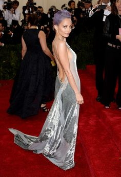 Nicole Richie is bringing sexy back (literally) in this low cut velvet Donna Karan gown