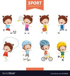 Vector - vector illustration of girl making sport Cartoon Heart, Cartoon Clouds, Cartoon Monkey, Clipart Images, Free Vector Images, Cartoon Chicken, Football Crafts, School Scrapbook, Cat Vector