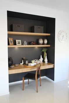 Study nook in alcove with black paint and wood shelves http://www.in-form-design.com