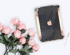 """Black Mica Alligator and Rose Gold for the iPad Pro 9.7 / iPad Pro 10.5"""" / iPad 9.7"""" Smart Keyboard compatible Hard Case - Platinum Edition"""