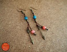 Bohemian Earrings with arrow and gemstones tribal earrings