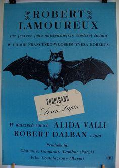Very old poster French Italian (1959) legendary film 'Signet, Aresene Lupin' Polish poster Marek Freudenreich 1963 Retro poster office decor