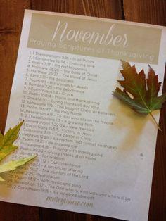 Join me in November as we pray scriptures of thanksgiving! Free Printable for Prayer through November.