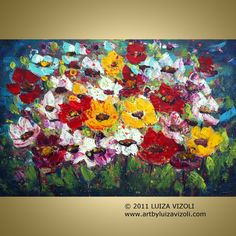 Original Painting NIGHT FLOWERS Palette Knife door LUIZAVIZOLI