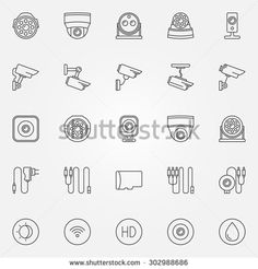 stock-vector-home-security-cameras-icons-vector-cctv-cameras-symbols-set-in-thin-line-style-302988686.jpg (450×470)