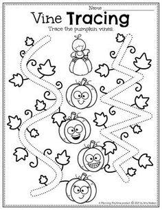 Practice Tracing, an early writing skill, in the pumpkin vines. Pumpkin Worksheets Preschool