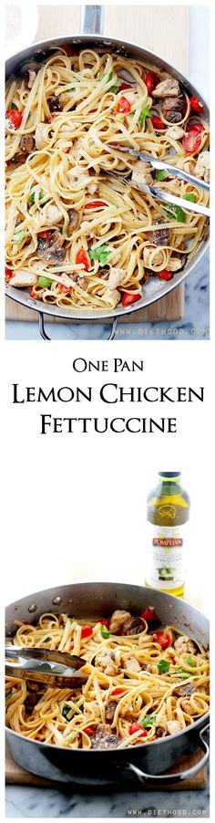 One-pan Lemon Chicken Fettuccine is a fresh and easy take on dinner, tossed with tomatoes, mushrooms, lemon juice and olive oil.
