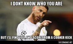 Real Madrid News Sergio Ramos BANNED after tackle on Barcelona Funny Football Memes, Sports Memes, First Football, Football Love, James Rodriguez, Ramos Real Madrid, Football Wallpaper, Know Who You Are, Sergio Ramos