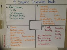 Four-Square model transition words Fourth Grade Writing, Kindergarten Writing, Teaching Writing, Writing Lesson Plans, Writing Lessons, Writing Strategies, Writing Ideas, Writing Plan, Writing Prompts