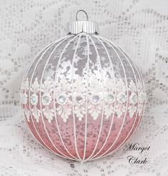 Pink and Silver Textured Lace Design Ornament with Bling (LG) 477 by MargotTheMUDLady on Etsy