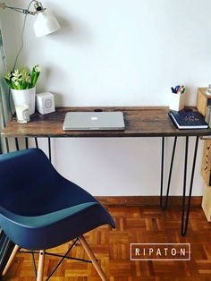 Worktable for Room - Hairpin legs 71 cm Handmade by Ripaton on Etsy Home Office, Office Workspace, Office Interior Design, Office Interiors, Pc Table, Home Studio Music, New Home Designs, Bedroom Vintage, Trendy Home