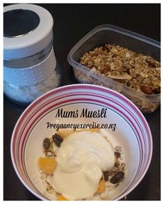 Fit Mums Breakfast Muesli: This is one of my favourite breakfasts, once you have made will last for 2 weeks or longer unless of course you can't resist sprinkled over some yoghurt for dessert!