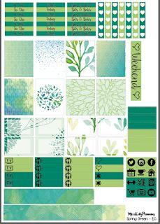 "Miss Kellz Planning: ""Spring Green"" Erin Condren March Colours #FreePrintableStickers"