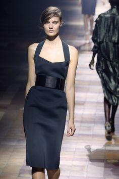 Halter Dress Swedish model Tilda Lindstam presents a creation for Lanvin during the 2014 Spring/Summer ready-to-wear collection fashion show, on September 26, 2013 in Paris. AFP PHOTO / PATRICK KOVARIK (Photo credit should read PATRICK KOVARIK/AFP/Getty Images)