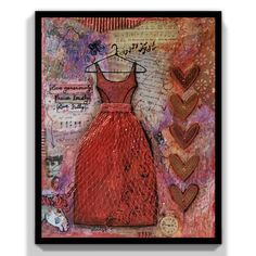 Painting Collage, Mixed Media Painting, Mixed Media Collage, Mixed Media Canvas, 9 Year Wedding Anniversary, Heart Collage, Formal Dance, Specialty Paper, Acrylic Canvas