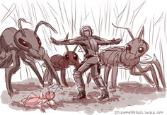 """""""Ant-Man"""" x """"Jurassic World"""" (art by dilenmadoodles)"""