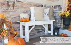 fall porch and diy outdoor bench, porches, seasonal holiday decor, Fall Front…