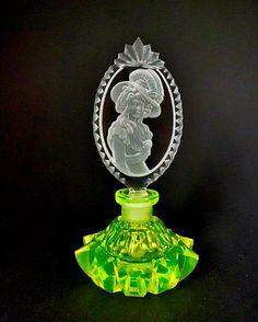 Bohemian Vaseline Art Deco Uranium Glass Perfume Bottle Signed Pesnicak