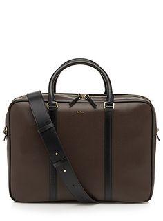 Brown leather City business folio | Simons #maisonsimons #PaulSmith #men #leather #designers #bag