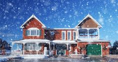 Cozy Modern Brick House with Light Snow Fall - F4photographystudio.com Royalty Free Pictures, Royalty Free Stock Photos, Modern Brick House, Web Creation, Pixel Image, Winter Images, Best Stocks, Us Images, Image Photography