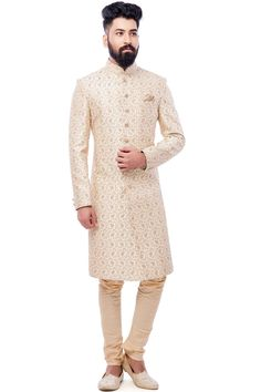 White Zari Embroidered Raw silk Wedding Sherwani-SH523 Mens Sherwani, Wedding Sherwani, Wedding Wear, Wedding Attire, Indian Groom Wear, Rohit Bal, Indian Wedding Outfits, Groom Outfit, Groom Style