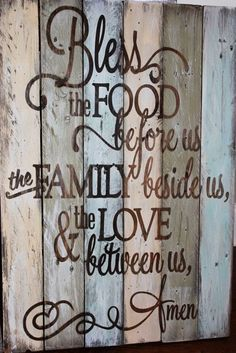 Family Prayer rustic, wooden sign made from reclaimed pallet wood. Makes a great Dining room wall decor.