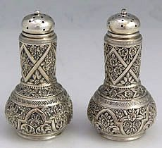 Whiting Hand Engraved Sterling Pepper Shakers
