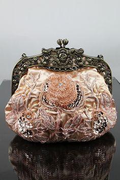 Brzoskwiniowa torebka koraliki, hand made