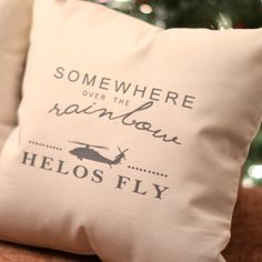 """""""Somewhere over the Rainbow, Helos Fly"""" Pillow.  Please see the Pillow Talk link on the top of this webpage for details on pillow size and shipping options."""