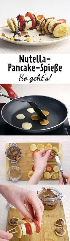 Diese Nutella-Pancake-Spieße sind schnell gemacht und ein echter Hingucker auf der Brunchen-Tafel.