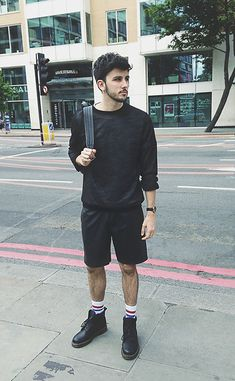 Topman Mesh Long Sleeve Top, Topman Leather Shorts, Dr. Martens Dr Martens Boots