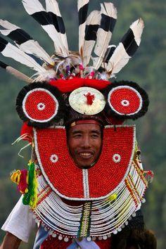 A Tangkhul Naga in his ceremonial finery celebrating the Naga New Year Festival (Kaing Bi) in Leshi village. Naga Hills, Burma, Myanmar   © Katie Garrod
