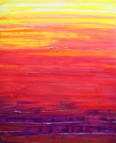 SUNSET painting Abstract original 20x24 orange red by devikasart, $189.00