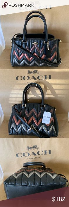 NWT COACH Chain Crossbody Quilting Quilt Carnation Pink Silver Black Gold F72998